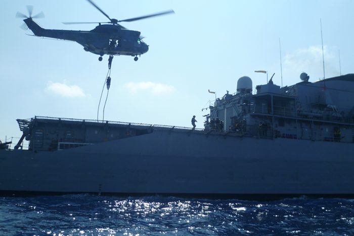 Tactical drill joining the Lebanese Navy and a Brazilian warship